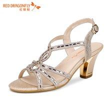红蜻蜓女凉鞋 夏款正品时尚水钻高跟露趾女夏凉鞋 5100