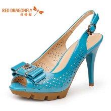 红蜻蜓 女单鞋正品牛皮甜美鱼嘴蝴蝶结水钻高跟女鞋 4196