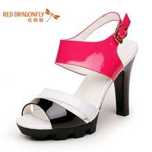 红蜻蜓女鞋 时尚超高跟拼色漆皮性感鱼嘴女凉鞋4070