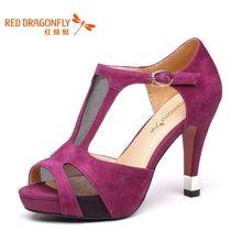 红蜻蜓 羊反绒女鞋夏款正品金属装饰高跟细跟时尚女凉鞋 4028