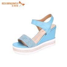 红蜻蜓凉鞋 夏款正品时尚休闲魔术贴坡跟女凉鞋5229
