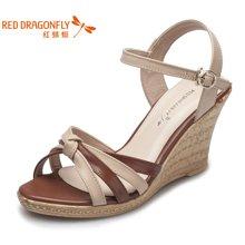 红蜻蜓女凉鞋 夏季正品舒适高跟露趾坡跟女凉鞋3835