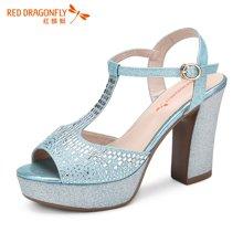 红蜻蜓凉鞋 夏款时尚防水台鱼嘴粗高跟凉鞋女5092
