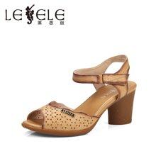 LESELE/莱思丽夏季新款欧美时尚镂空粗跟牛皮女凉鞋KE51-LB0591