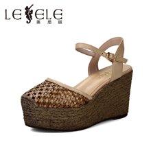 LESELE/莱思丽夏季新款时尚编织坡跟牛皮女凉鞋YR15-LB1506