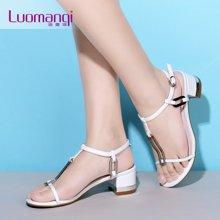 洛曼琪新款女鞋 简约露趾高跟粗跟罗马金属搭扣女凉鞋723007