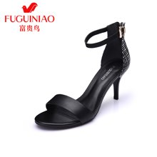 富贵鸟(FUGUINIAO)头层牛皮凉鞋 便携金属挂扣优雅酒杯跟橡胶防滑女鞋 N67Y653C