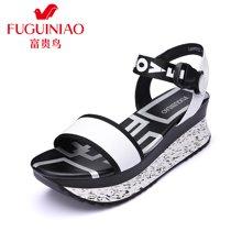 富贵鸟时尚头层牛皮休闲时尚风几何印花便捷塑料插扣松糕女鞋凉鞋 N69Y915C