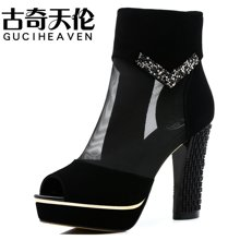 古奇天伦 新款女凉鞋网纱鱼嘴露趾粗跟高跟鞋中跟凉靴 TL/7907