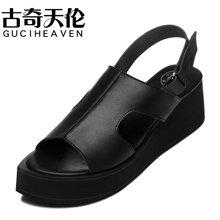 古奇天伦 夏季凉鞋女中学生防滑中跟松糕跟松糕鞋学生士防水台鞋子 TL/8235