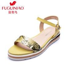 富贵鸟16年夏季新品蛇纹鞋面凉鞋舒适防滑松糕鞋一字扣女鞋 N69B022C