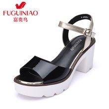 富贵鸟(FUGUINIAO)16年夏季新品头层牛皮拼色凉鞋 便携金属挂扣耐磨防滑粗跟女鞋 N69M939C