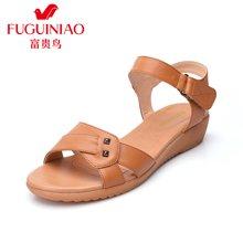 富贵鸟夏季新品头层牛皮透气舒适凉鞋魔术贴扣带防滑橡胶坡跟女鞋 N69S839C