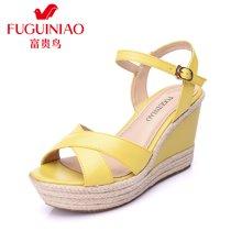 富贵鸟(FUGUINIAO)16年夏季新品头层牛皮凉鞋 波西米亚风一字扣坡跟减震防滑女鞋 N69F731C