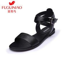 富贵鸟时尚女凉鞋夏季新品头层牛皮金属挂扣女鞋平跟纯色女士凉鞋 N67Y629C