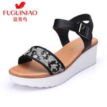 富贵鸟(FUGUINIAO)16年夏季新品拼接凉鞋 便携金属挂扣舒适轻盈防滑坡跟鞋底女鞋 N69S118C