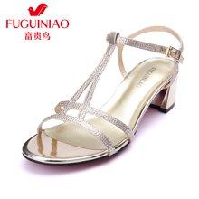 富贵鸟(FUGUINIAO)韩版优雅淑女女鞋 精致璀璨亮钻粗跟凉鞋 N67Y633E