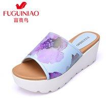 富贵鸟(FUGUINIAO)时尚羊皮清新印花韩版防水台坡跟舒适女鞋拖鞋 N67Y657K