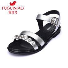 富贵鸟(FUGUINIAO)头层牛皮时尚个性闪耀亮钻舒适平底凉鞋女鞋 N67Y646C