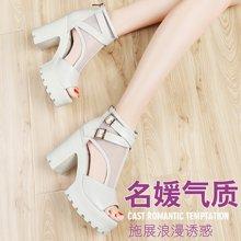 古奇天伦 夏季新款女凉鞋高跟鞋中跟粗跟防水台罗马风潮鞋子 TL/8192