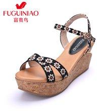 富贵鸟(FUGUINIAO)16年夏季新品金属便携挂扣 碎花防滑坡跟凉鞋 N69M990E