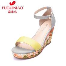 富贵鸟(FUGUINIAO)头层羊皮坡跟凉鞋夏女凉鞋 高跟凉鞋 罗马松糕鞋厚底凉鞋 N67Y660K