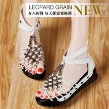 古奇天伦 新款平底女鞋中跟厚底时尚学生鞋子波西米亚凉鞋 TL/8220