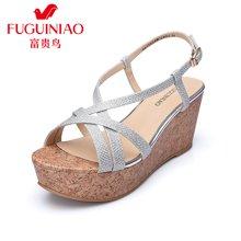 富贵鸟(FUGUINIAO)高跟防水台罗马休闲舒适厚底凉鞋女 N67Y654E
