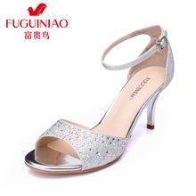 富贵鸟(FUGUINIAO)时尚女鞋凉鞋酒杯跟高跟鞋甜美包跟一字扣细跟凉鞋 N67Y651E
