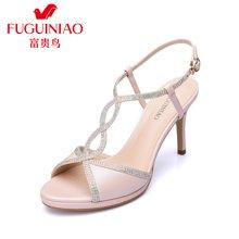 富贵鸟(FUGUINIAO)时尚 高跟鞋凉鞋 细跟甜美一字扣凉鞋女 N67Y621K