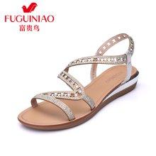 富贵鸟时尚女凉鞋 夏季新品头层羊皮\超纤绒蛇形线条设计女镂空坡跟凉鞋女鞋 N69M351Q