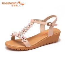 红蜻蜓女凉鞋 2016夏季新款软底甜美可爱花朵中跟坡跟女鞋 6159