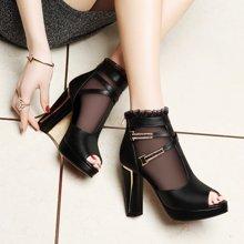 莱卡金顿 新款鱼嘴单鞋高跟蕾丝网纱性感时尚优雅女鞋防水台鞋子 LK/6011