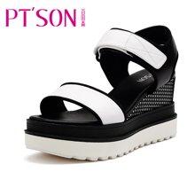 百田森 女鞋 夏季牛皮时尚凉鞋文件粗跟凉鞋平稳坡跟女凉鞋PYQ61096