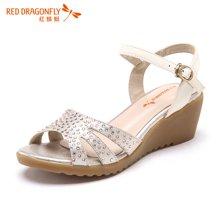 红蜻蜓女鞋 2016夏季新款水钻优雅潮流坡跟休闲女凉鞋 6171