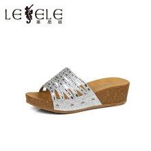 LESELE/莱思丽夏新款女鞋欧美休闲水钻坡跟凉拖LB2537