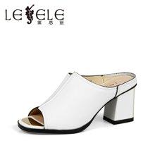 LESELE/莱思丽夏新款 牛皮粗跟露趾简约凉拖高跟一字型拖鞋LB8535
