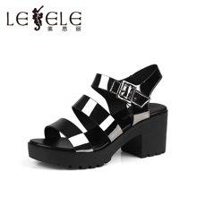 LESELE/莱思丽夏新款潮流时尚女鞋 露趾防水台粗高跟女凉鞋LB0937