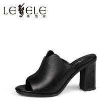 LESELE/莱思丽夏季潮流时尚牛皮女鞋 新款粗高跟一字型凉拖LB5523