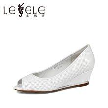 LESELE/莱思丽夏季新款简约高跟女鞋 坡跟牛皮鱼嘴鞋女单鞋LE2988