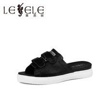LESELE/莱思丽夏季简约休闲牛女鞋 新款中跟坡跟一字型凉拖LB0781