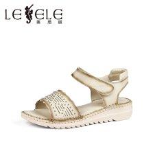 LESELE/莱思丽夏季休闲女鞋 新款露趾牛皮魔术贴坡跟女凉鞋LB0836