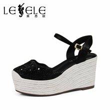 LESELE/莱思丽春夏新款羊皮粗跟包头 优雅凉鞋扣带高跟女鞋LB1507