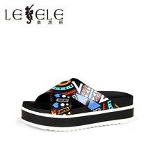 LESELE/莱思丽夏新款 拼色松糕跟休闲牛皮拖鞋一字型凉拖女LB0191
