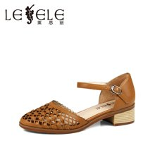 LESELE/莱思丽夏季新款女鞋羊皮简约镂空编织方跟凉鞋LB4560