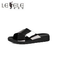 LESELE/莱思丽夏季休闲女鞋 新款拖鞋女超迁皮厚底平跟凉拖LB0396