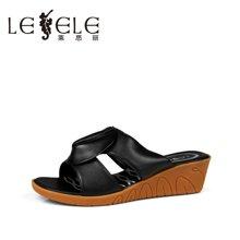 LESELE/莱思丽夏季时尚休闲潮流女凉鞋 新款坡高跟凉拖鞋女LB0640