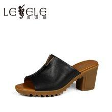 LESELE/莱思丽夏季休闲女鞋 新款露趾纯色牛皮粗高跟女凉拖LB0303