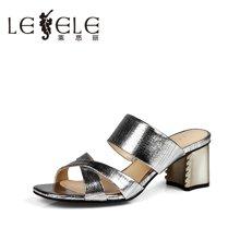 LESELE/莱思丽夏季潮时尚女凉鞋 新款一字型粗跟高跟女凉拖LB3136