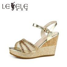 LESELE/莱思丽夏季新款 牛皮一字扣坡跟凉鞋欧美高跟鞋女鞋LB6342